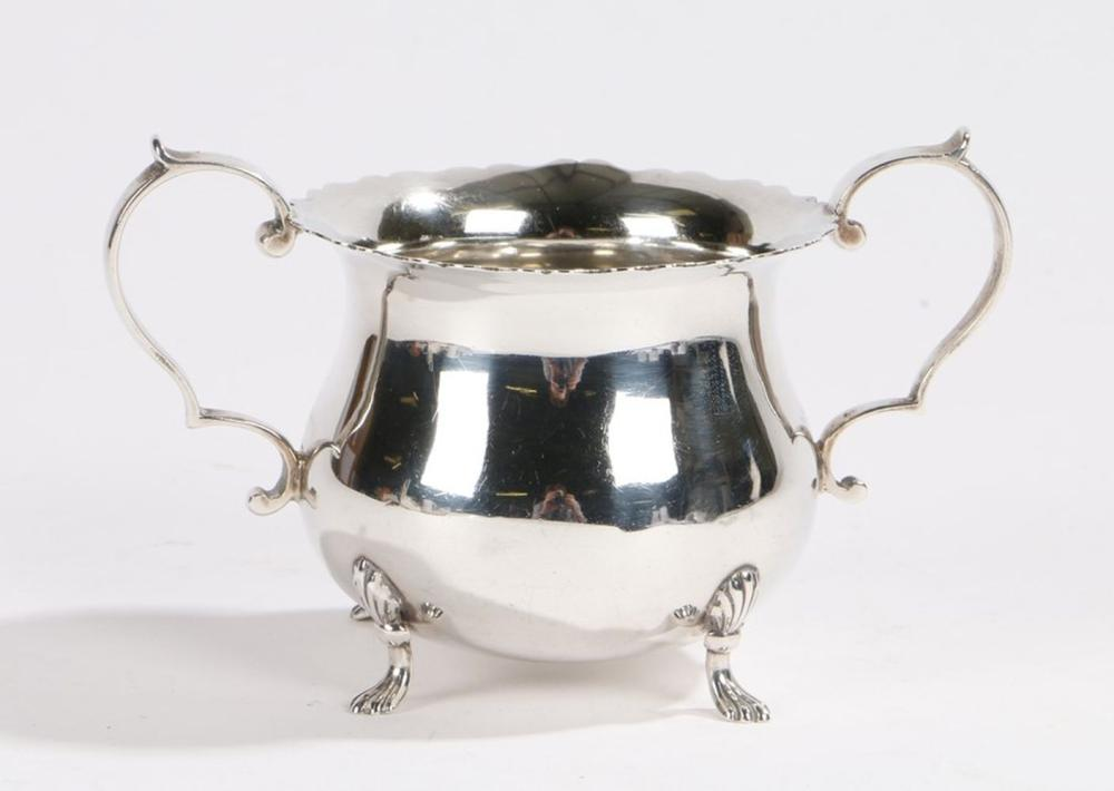 George V silver sugar bowl, London 1915, maker  Francis Stebbings, with two double scroll handles an