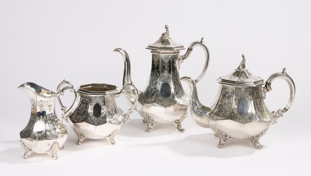 Silver plated tea and coffee service, consisting of teapot, coffee pot, milk jug and sugar bowl, the