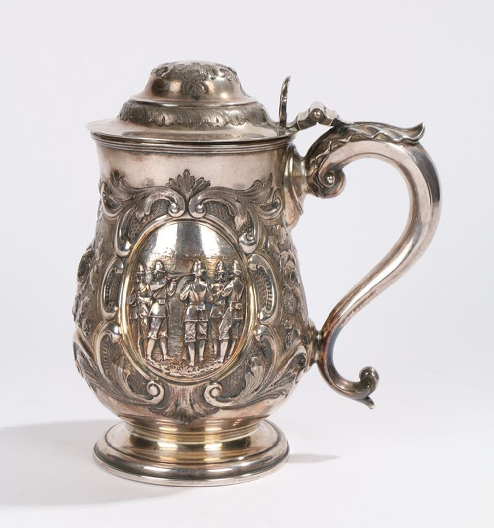 Mid 19th Century Elkington plate shooting tankard, with domed scroll and foliate lid, pierced thumb