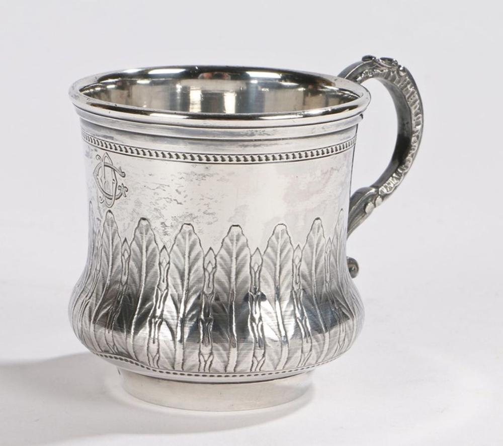 19th Century French silver cup, with scroll cast handle and stylised leaf decorated body, monogramme