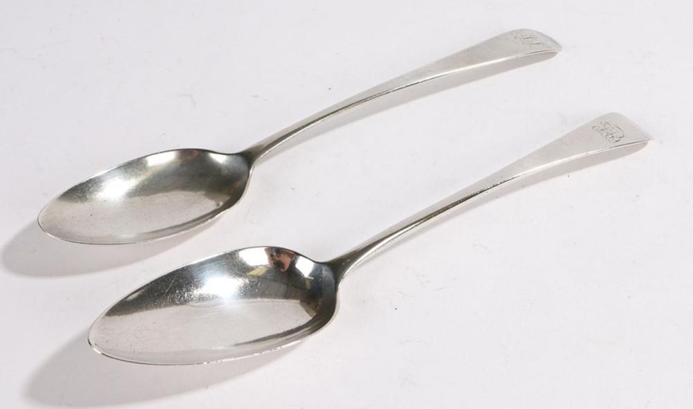 Two George III silver tablespoons, Newcastle 1813, maker Thomas Watson, the handle initialled JJ, an