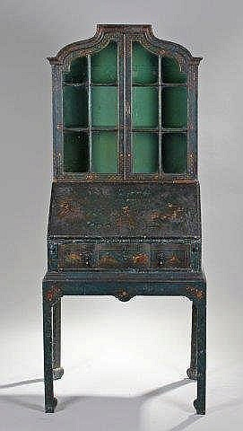 george iii green japanned bureau bookcase the boo. Black Bedroom Furniture Sets. Home Design Ideas