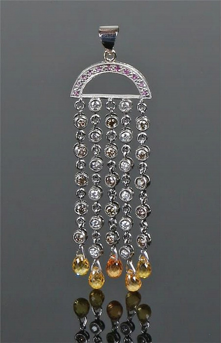 18 Carat Rose Gold: 18 Carat White Gold Diamond, Ruby And Citrine Pendant, The R