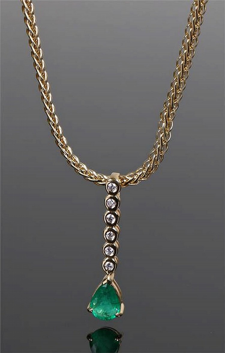 18 Carat Rose Gold: 18 Carat Gold Emerald And Diamond Pendant, With A Row Of Six