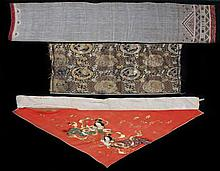 Oriental textiles, to include a gold thread dragon example, a figural example and a lined geometric example, (3) - Stock Ref:4654-5
