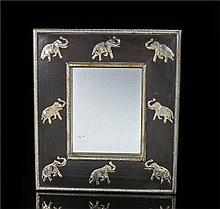 Oriental hardwood mirror with white metal elephant decoration, gadrooned slip and roundel decorated frame, 35.5cm by 40cm - Stock Ref:4364-15