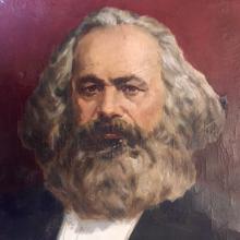 Original Soviet Era Karl Marx Propaganda Painting