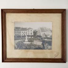 Framed Photo Showing Belgian WW1 Memorial Dedication