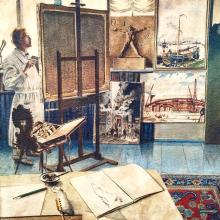 Exceptionally Detailed Watercolor of an Artist's Studio