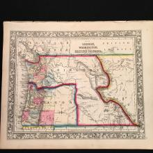 1862 Mitchell Map of Oregon and Washington Territories