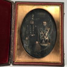 Rare Half-Plate Daguerreotype of 22nd NY Regiment Soldier and Mason