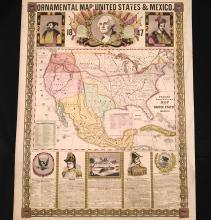 1847 Phelps' Ornamental Map of the United States and Mexico
