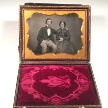Half-Plate Daguerreotype of a Young Man with Arm Around His Wife