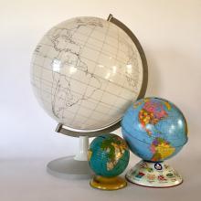 Vintage All White Mid-Century Modern World Globe from Denmark; Erasable Surface!