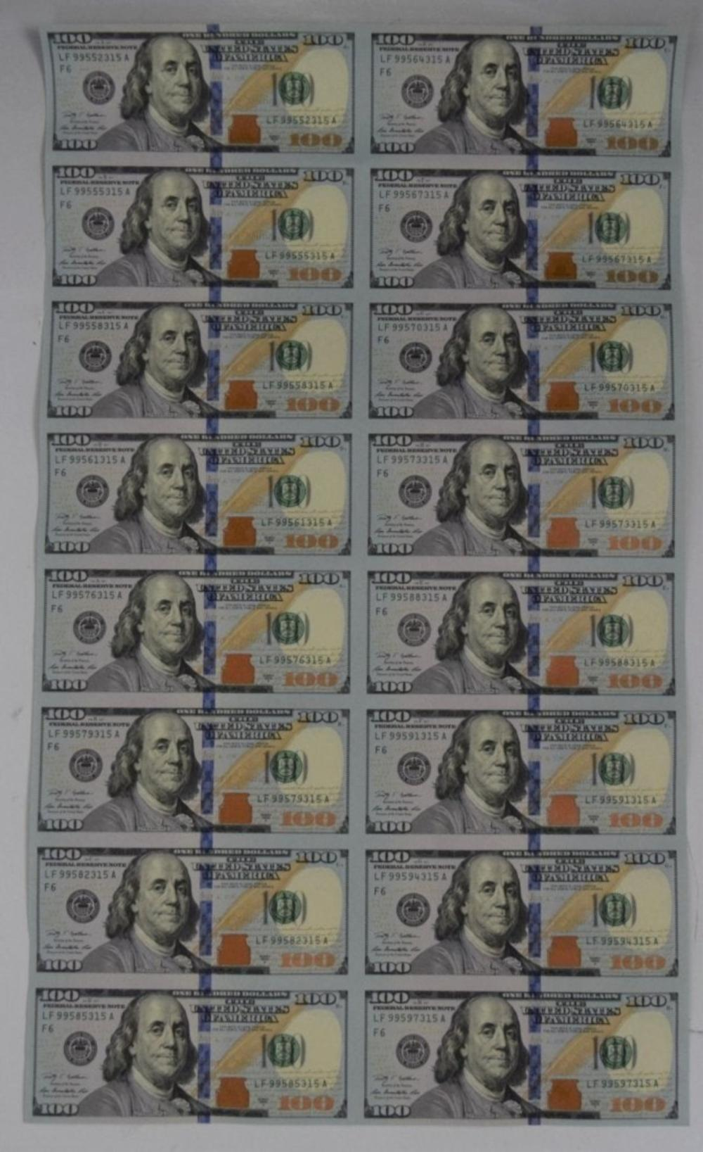 Uncut One Hundred Dollar Bill Paper Currency
