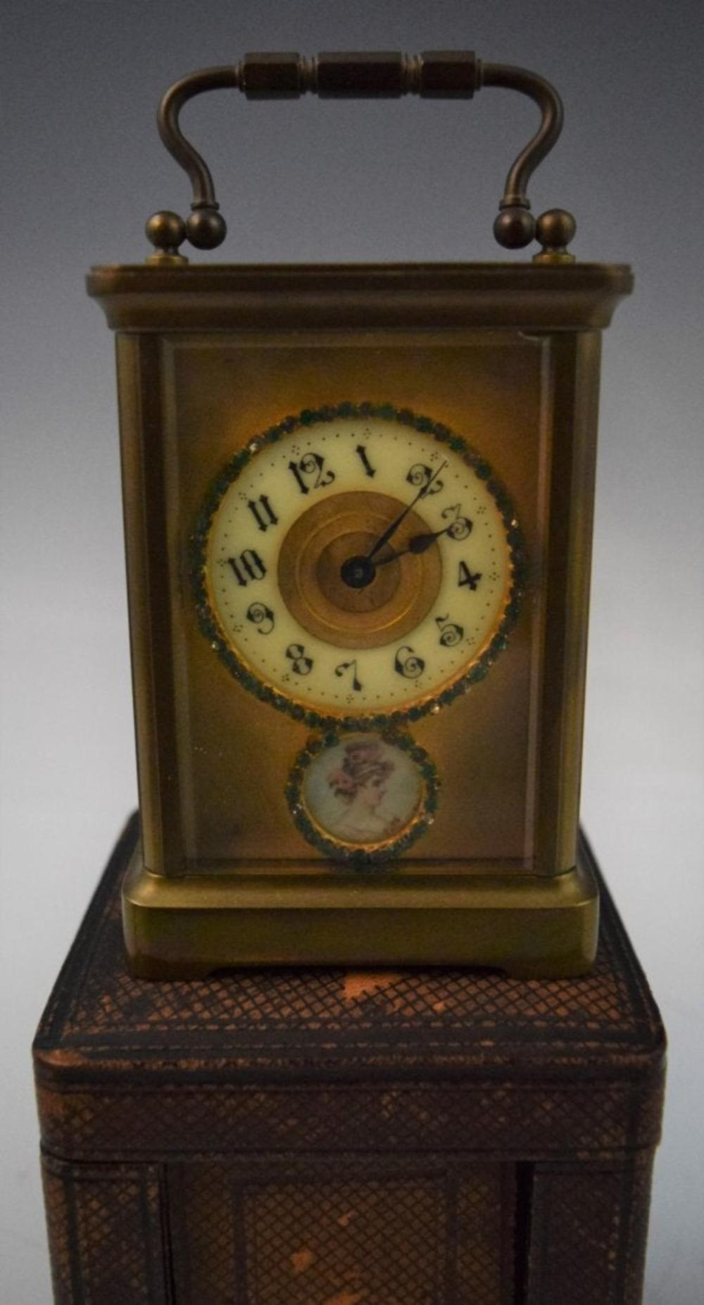 French, Carriage Clock w/Painted Portrait, Jewels
