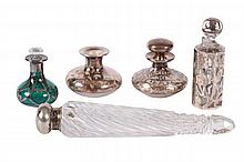 FIVE PERFUME BOTTLES,  FOUR WITH SILVER OVERLAY