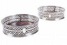 HESTER BATEMAN, PAIR OF SILVER WINE COASTERS