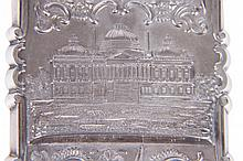 SILVER CARD CASE WITH REPOUSSE CAPITOL BUILDING