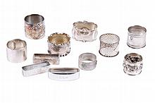 COLLECTION OF SILVER NAPKIN RINGS