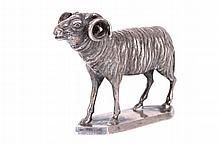 ANTIQUE CONTINENTAL SILVER MODEL OF A RAM