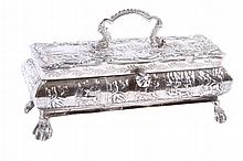 GERMAN SILVER FOOTED TABLE TOP DRESSER BOX