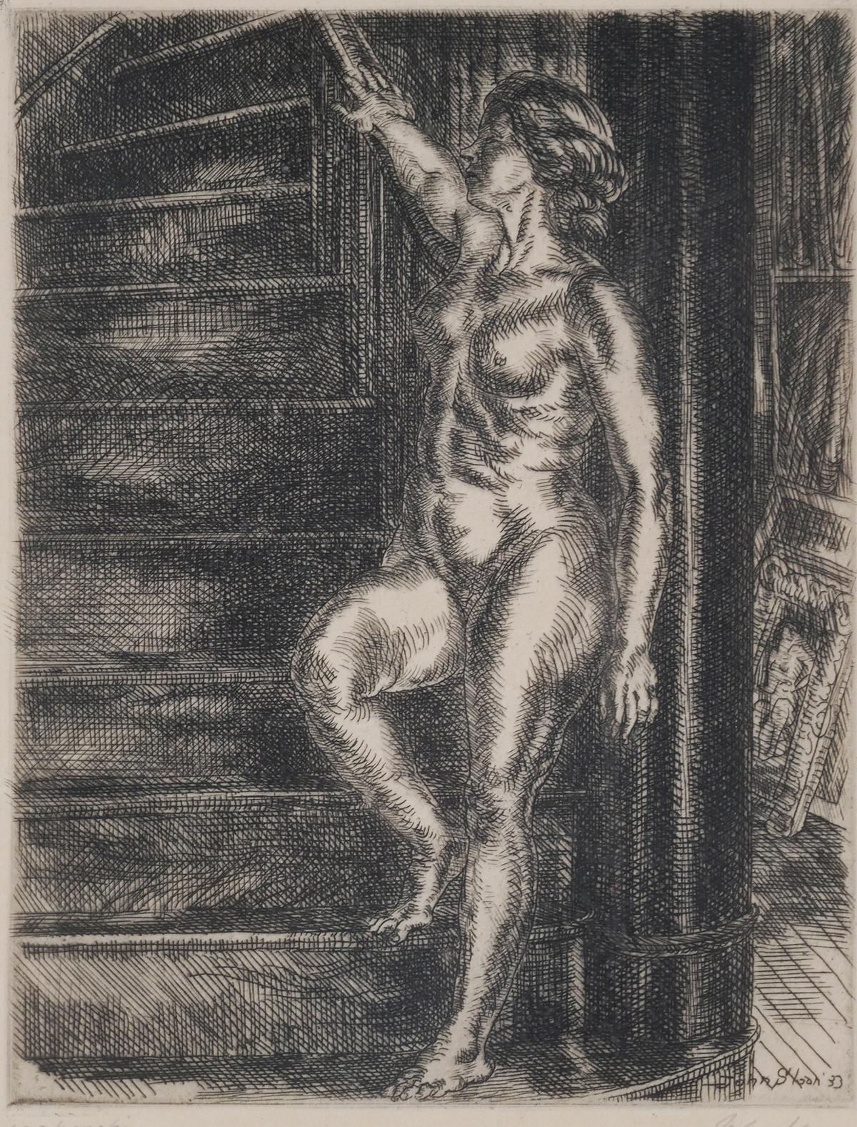 John Sloan (NY, 1871-1951), Half Nude on Elbow (Lot 429