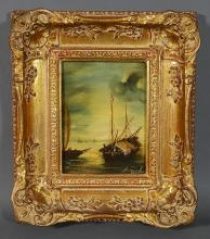 Italian Ship Painting Oil on Board Signed
