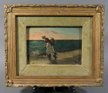 Antique Dutch Oil Painting on Board Girl on Beach