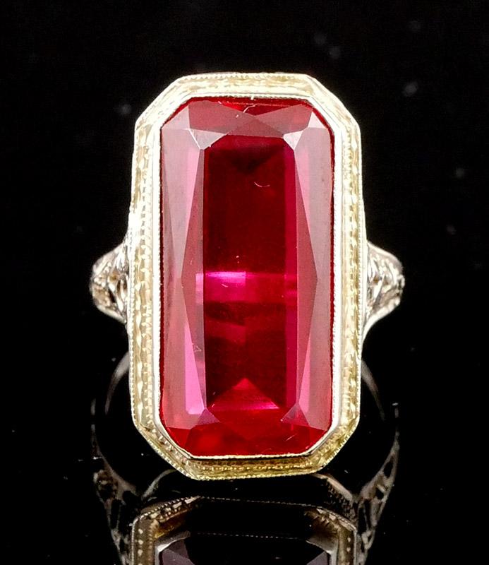 Art deco era 10 carat ruby 14k gold filigree ring for Art deco era dates