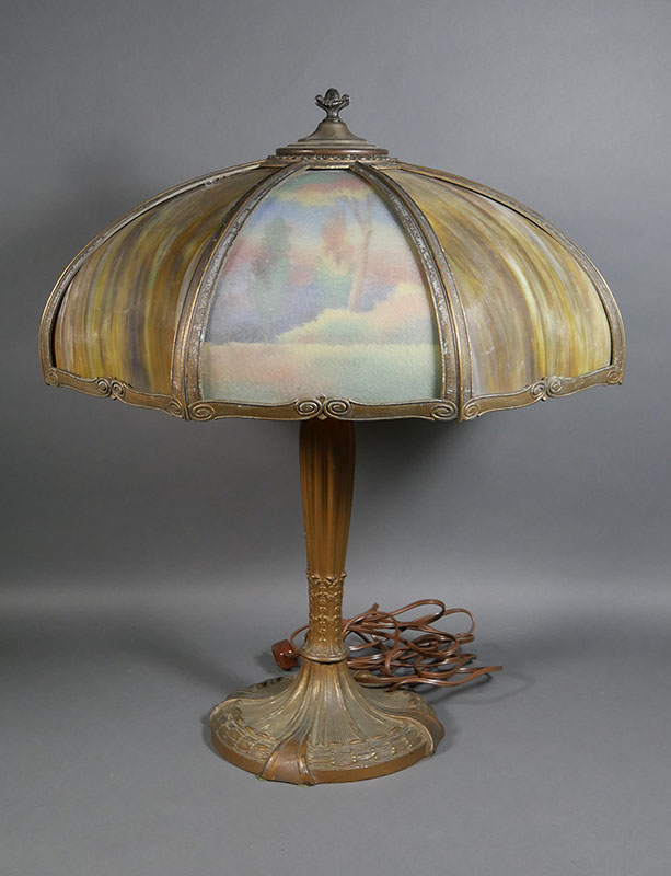 Antique Royal Art Glass Painted Panel Table Lamp