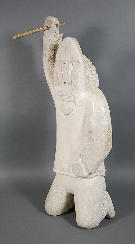 Inuit Bone Carving Of Spearfisherman 21 Tall