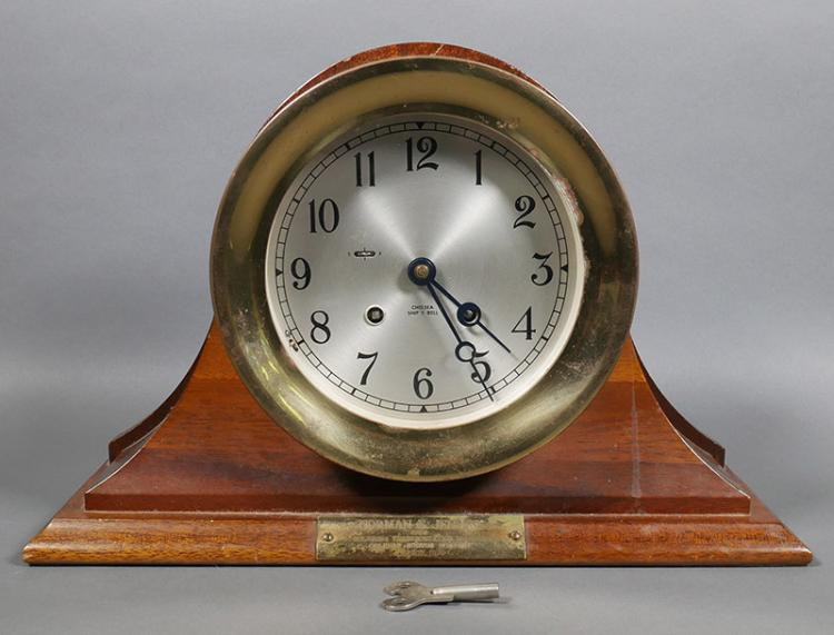 Chelsea Ship's Bell Brass Clock in Wood Stand