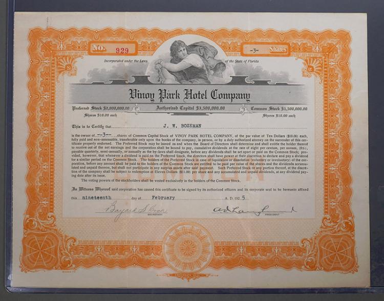 St. Petersburg Vinoy Hotel Stock Certificate 1925