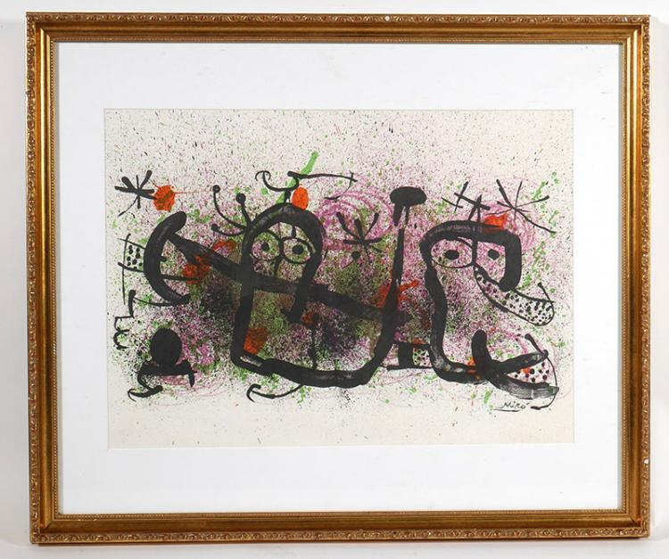 Joan Miro Abstract Color Print Textured Paper