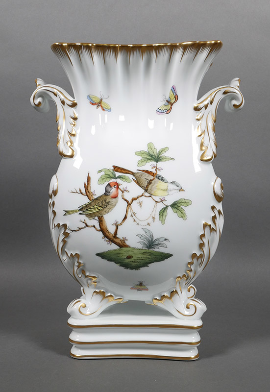 Herend Rothschild Birds Footed Porcelain Urn Vase