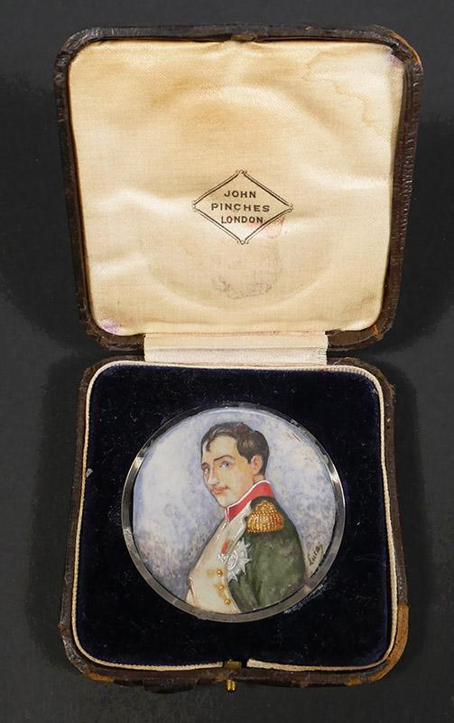 19C Miniature Portrait of Napoleon Signed Lucas