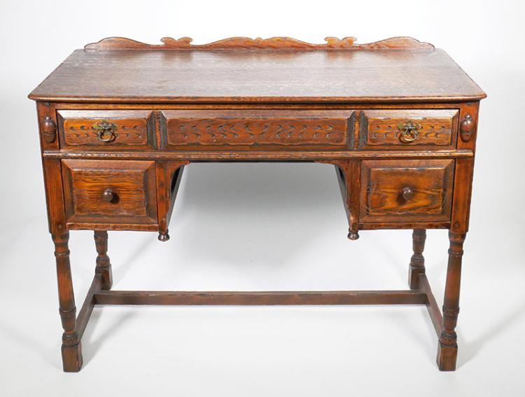 Antique Feudal Oak Arts & Crafts Era Desk