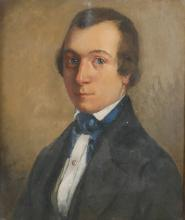 Antique French Portrait Painting of Romantic Poet