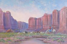 Johnny Yazzie Navajo Oil on Canvas Painting