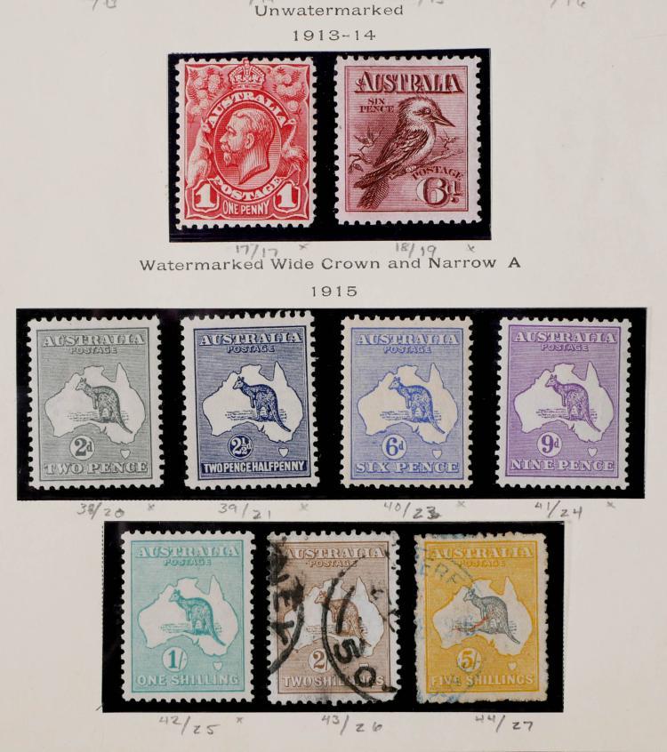 AUSTRALIA, 1913-1915, # 17-18, 38-44  CV $1,950