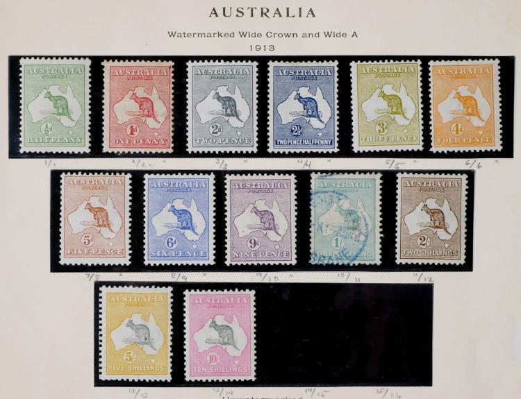 AUSTRALIA, 1913, 1/2p-10sh, #1-13 CV $3,300