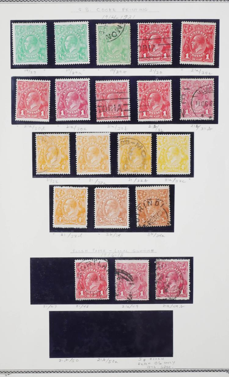 AUSTRALIA, 1914-21, 1/2p to 5p, Variations