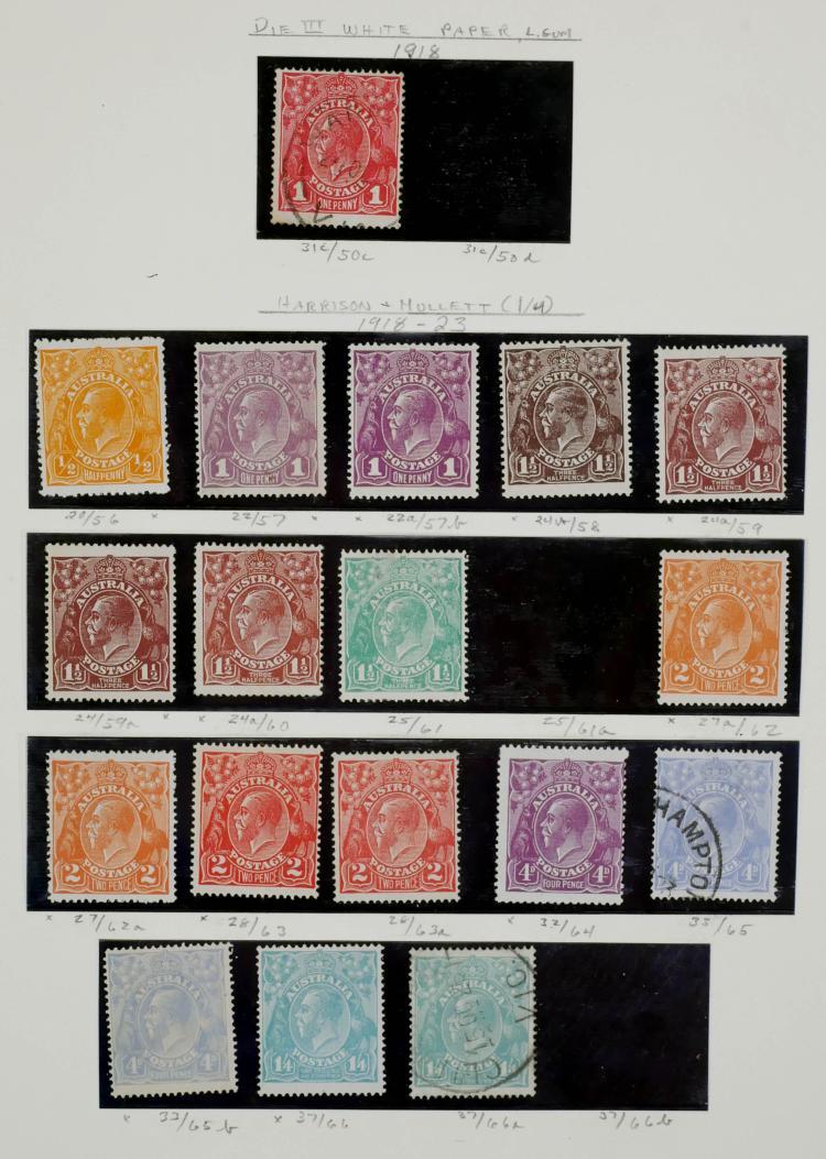 AUSTRALIA, 1918-23, 1/2p to 1sh4p, Variations
