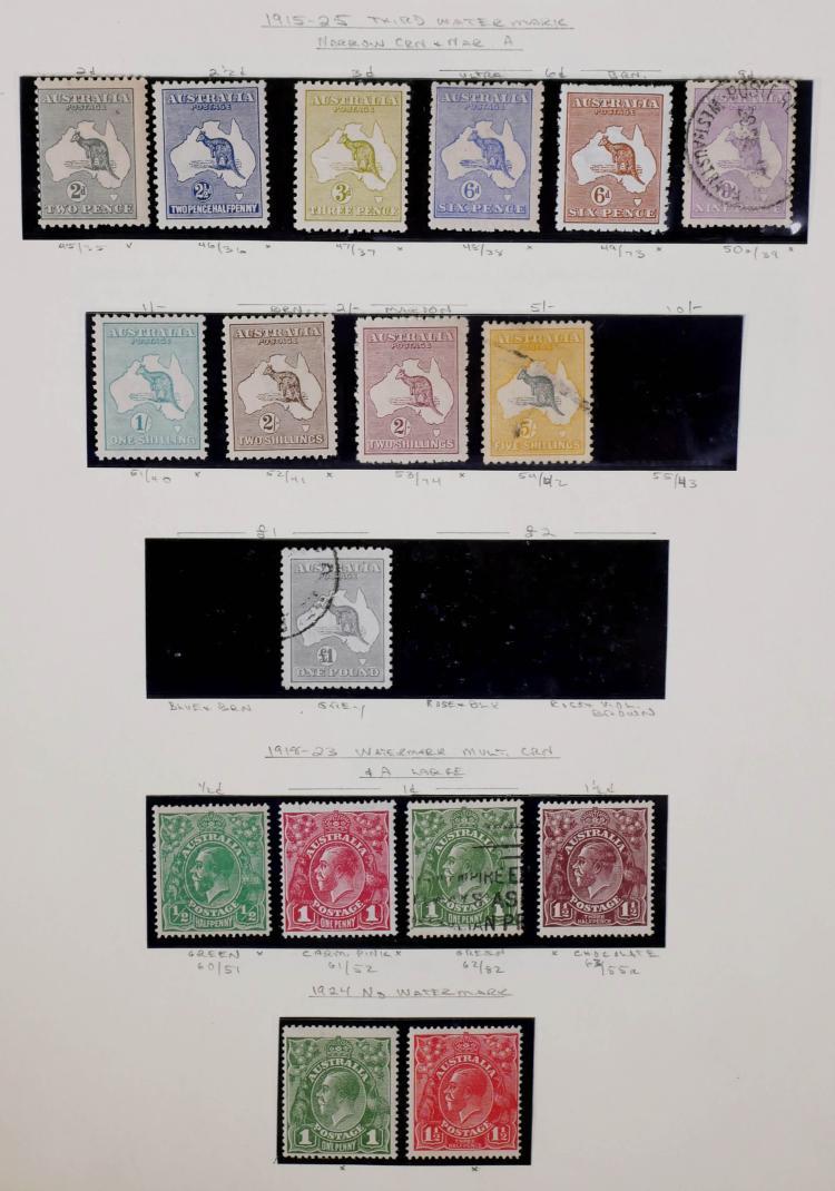 AUSTRALIA, 1915-25, 2p-5sh, One Pound, CV $1,365