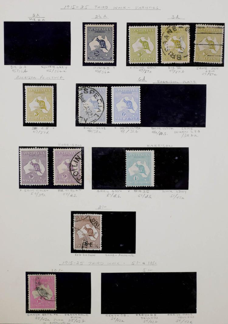 AUSTRALIA, 1915-25, Variations, CV $850