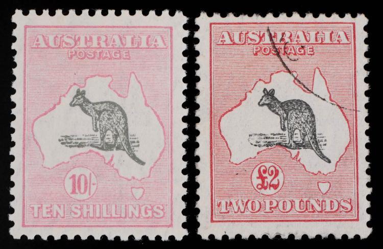 AUSTRALIA, 1929-30, 10sh and 2 pounds, #101 102