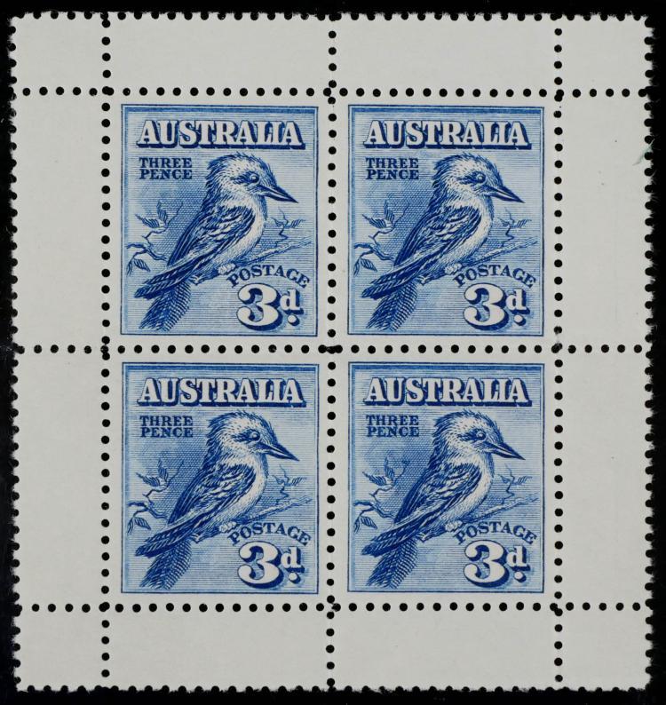 AUSTRALIA, 1928, 3p deep blue, #95a Pane of 4