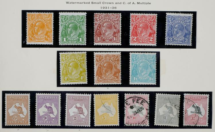 AUSTRALIA, 1931-36, 1/2p-2 pounds, #113-129