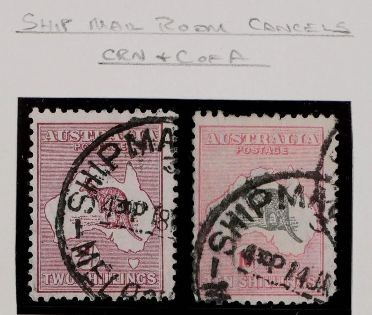 AUSTRALIA, 2sh 10sh Ship Mail Room Cancels